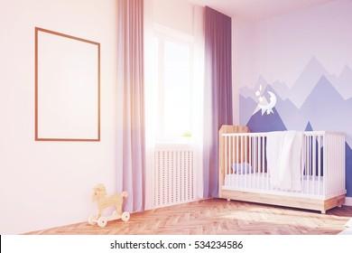 Side kid room. 3d rendering. Mock up. Toned image
