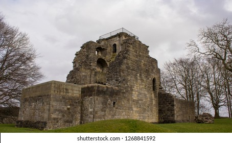 Side Look at Crookston Castle Ruins in Pollock Area, Glasgow. The origins of Crookston Castle date back to the late 1100s