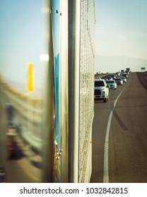 Side mirror 18 wheeler truck abstract concept