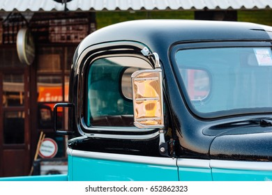 side mirror of a vintage car, vintage mirror of a car.