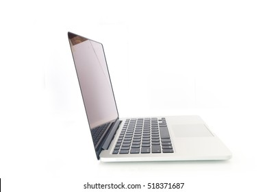 side of  modern notebook with blank screen on isolated white background.