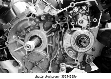 in side motorcycle engine,mono tone.