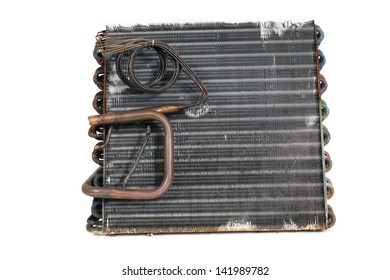 The side of an old A-frame evaporator coil taken from a 2.5-ton residential r22 straight capillary system.