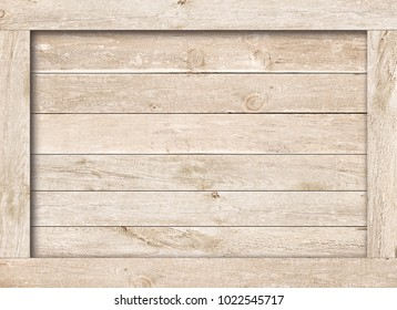 Side of old brown wooden crate, box, planks or frame for text or message