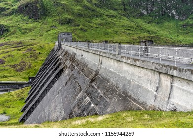 A side on view of Lawers Dam, Scotland