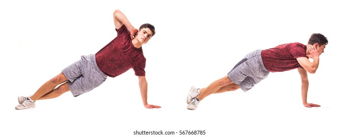 Side Plank Crunch. Young man doing sport exercise.