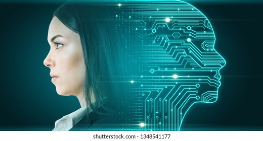 Side portrait of attractive young european businesswoman with digital head outline, circuit and binary code. Artificial intelligence and cyberspace concept. Double exposure