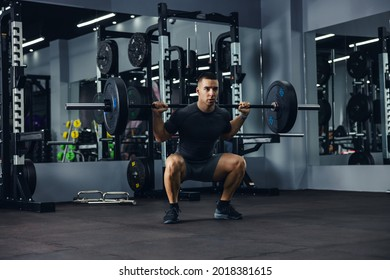 A side portrait of a bodybuilder in grey doing squats using a barbell in a gym to train his legs and back. Powerful fitness workout