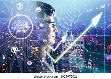 Side portrait of businessman with polygonal brain on abstract forex background. Artificial intelligence and finance concept. Double exposure
