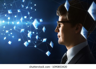 Side portrait of handsome european businessman on glowing blue backgroud with digital connections. Future and innovation concept