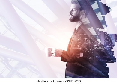 Side portrait of handsome young businessman drinking coffee on abstract white night city background with copy space. Leisure and occupation concept. Double exposure