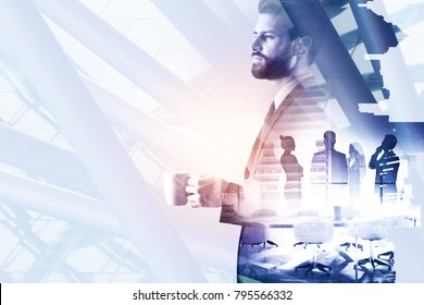 Side portrait of handsome young businessman drinking coffee on abstract white night city background with copy space. Leisure and work concept. Double exposure
