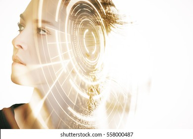 Side portrait of woman with digital pattern. Scanning for personality identification