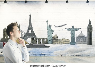 Side portrait of young businessman in brick interior with travel sketch and sky. Business trip concept. Double exposure. 3D Rendering