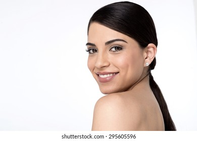 Side pose of young woman face with clean skin