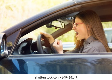 Side profile angry driver. Negative human emotions face expression
