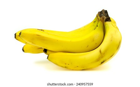 Side profile of banana bunch isolated on white