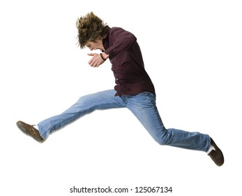 Side profile of boy jumping