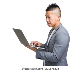 Side profile of business man use laptop computer