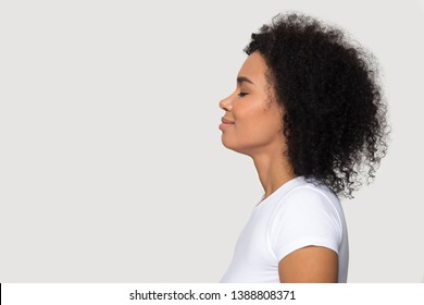 Side profile face mixed race woman isolated on grey background standing aside, female closed eyes smiling enjoying fresh air or dreaming about good future feels satisfied and tranquil, concept image