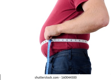 side profile of an over weight man measuring stomach