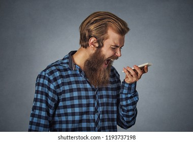 Side profile portrait angry young man screaming on mobile phone. Hipster man with beard in blue plaid checkered shirt  Isolated on gray Background. Negative face expression human emotion body language