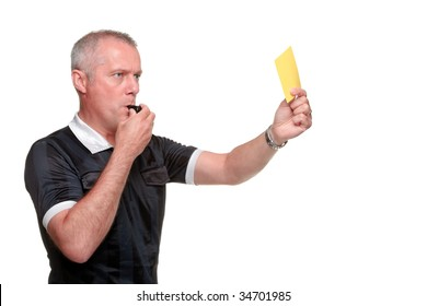 Side profile of a referee showing the yellow card, isolated on a white background.