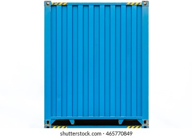 Side profile view of blue cargo freight container