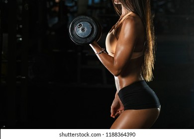 Side profile view photo of attractive powerful muscular woman holding black dumbbells in hands trying to built muscle mass at class in gym. Black copy space.