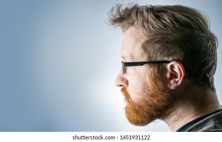 Side profile view of white male with a beard and glasses.  Dark blond hair and orange beard.  Left side of face, facing left in frame with a blue / gray background.