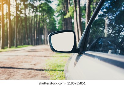 side rear-view mirror on a car with clipping path.