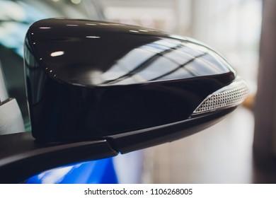 side rear-view mirror on modern car