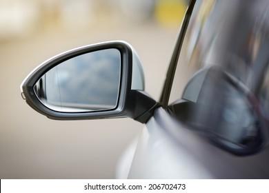 side rear-view mirror on a modern car