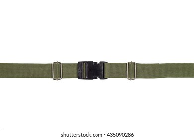 Side release buckle from plastic with green belt nylon on the white background.