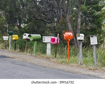 Side road letter boxes in country Tasmania, Australia