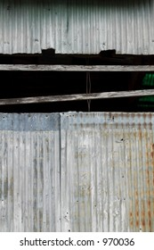 side of a rusted metal structure