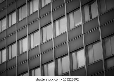 The side of an school building with many windows
