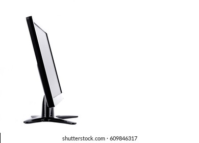 Side of the screen LED monitor computer display on white background  hardware  desktop technology isolated
