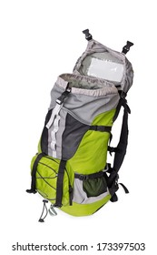 Side shot of green opened touristic backpack on white background