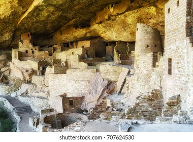 Side shot of the historic Anasazi Cliff Palace.
