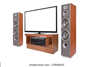 Side shot of home cinema system isolated on white background