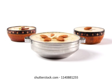 Side shot of kheer dessert, Traditional indian sweet dish, Eid party dinner from pakistan, Ramadan iftar meal.