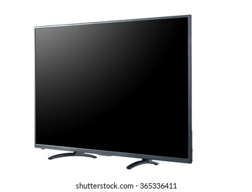 Side shot of LED tv screen isolated on white background
