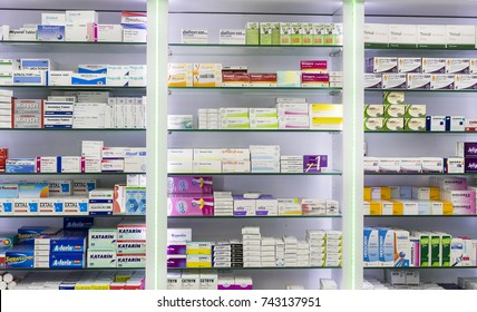 SIDE, TURKEY - 4 OCTOBER , 2017: Pharmacy cabinets with medicines and drugs tablets and food additives