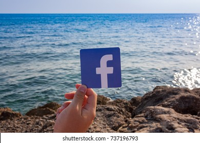 Side, Turkey. August, 2017. Printed logo of the famous social network Facebook.Concept. The beach, the sky and the sea are on the background.