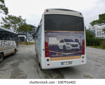 SIDE, TURKEY - DECEMBER 31 2017: Bus stop. Titreyengol resort area in Turkey. Side. Antalya province