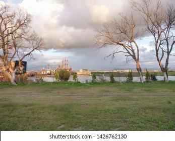 Side, Turkey - December 31 2017: Resort area near the Turkish city of Side, near Manavgat. Overcast and deserted winter in Turkey