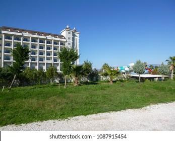 SIDE, TURKEY - JANUARY 1 2018: Titreyengol resort area in Turkey. Side. Antalya province