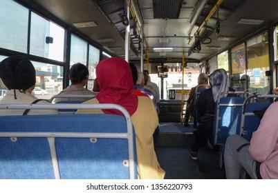 Side, Turkey - January 2 2018: Inside the bus Side-Titreyengol near Manavgat town