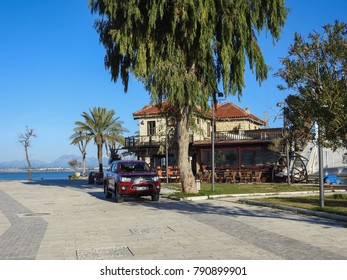 SIDE, TURKEY - JANUARY 2 2018: Streets and buildings of Side, ancient Greek city on the southern Mediterranean coast of Turkey - resort town in Antalya Province